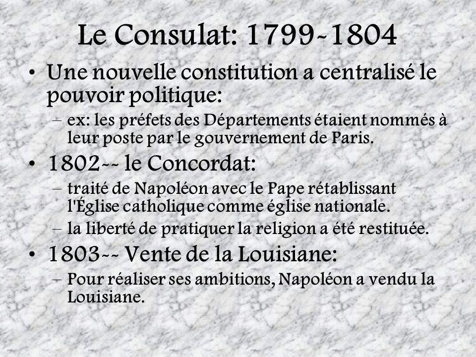 Le Consulat: 1799-1804Une nouvelle constitution a centralisé le pouvoir politique: