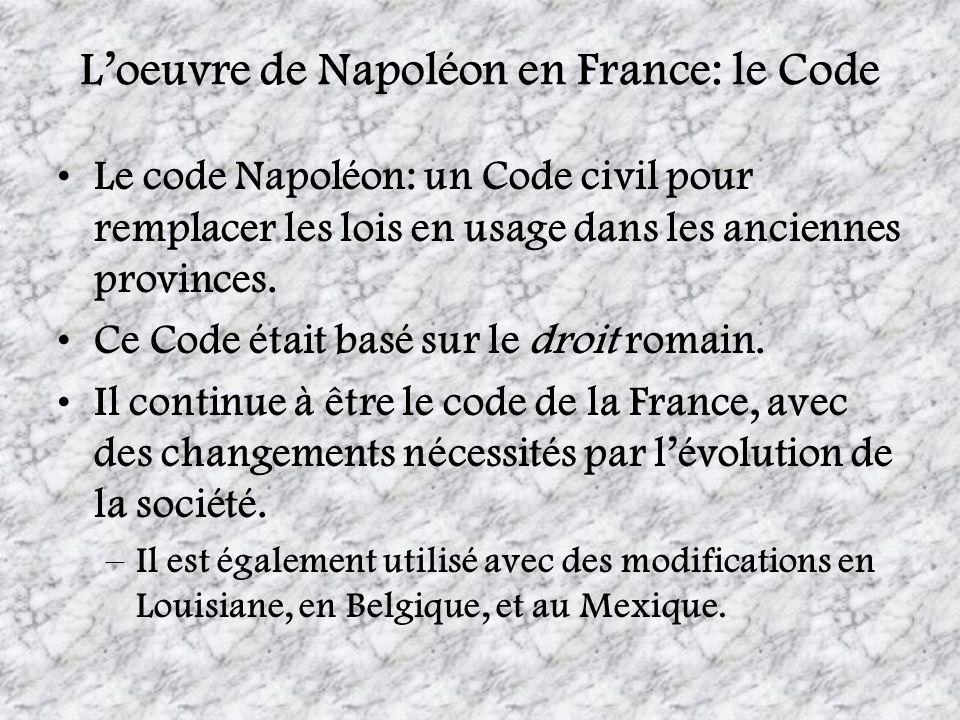 L'oeuvre de Napoléon en France: le Code