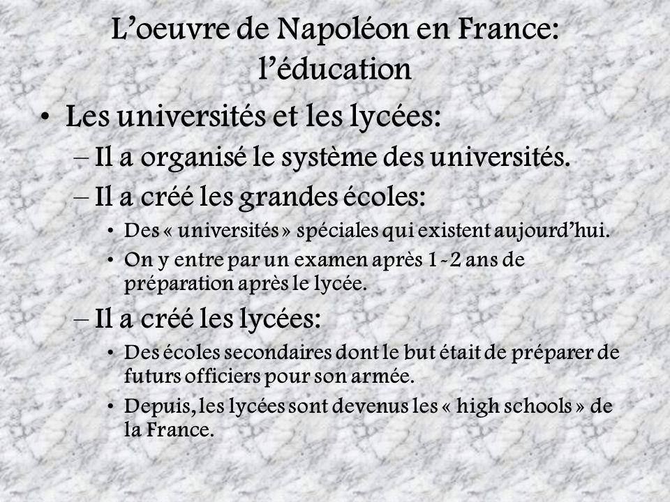 L'oeuvre de Napoléon en France: l'éducation