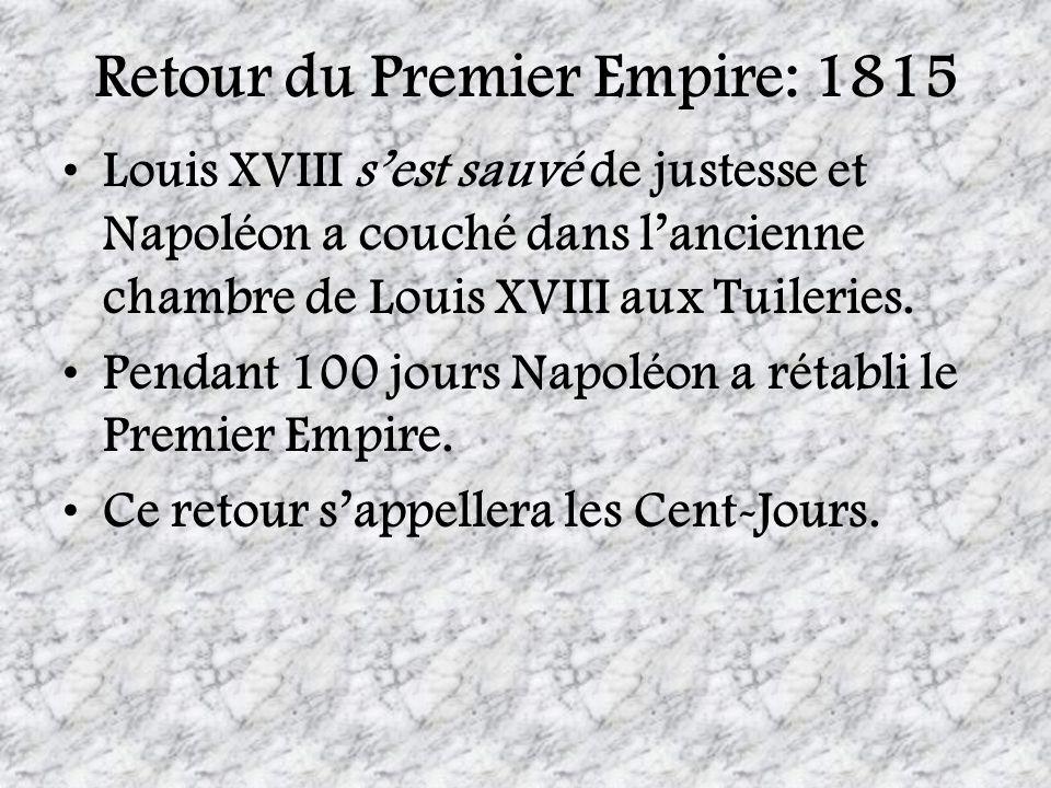 Retour du Premier Empire: 1815