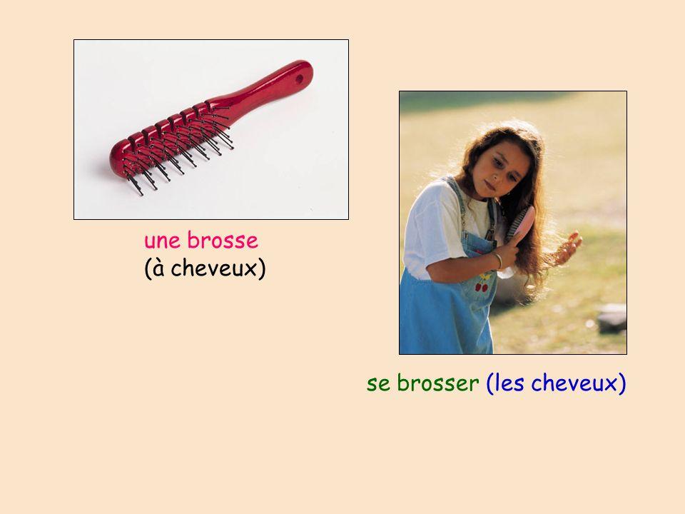 une brosse (à cheveux) se brosser (les cheveux)