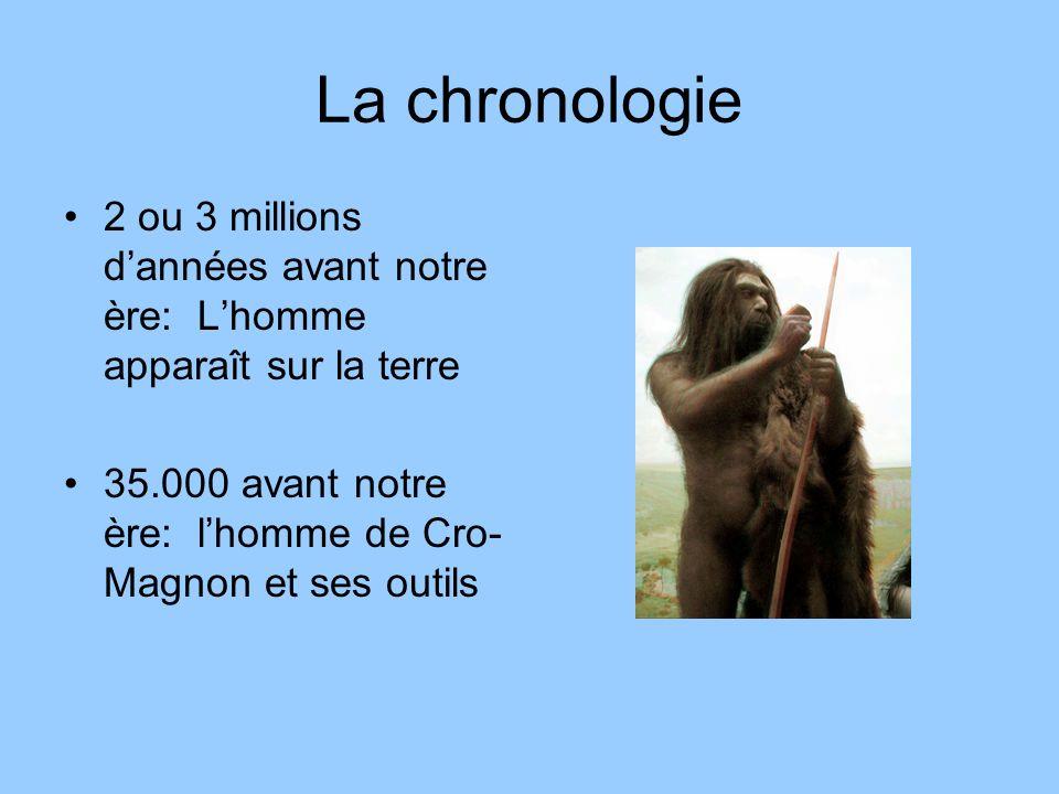 La chronologie 2 ou 3 millions d'années avant notre ère: L'homme apparaît sur la terre.