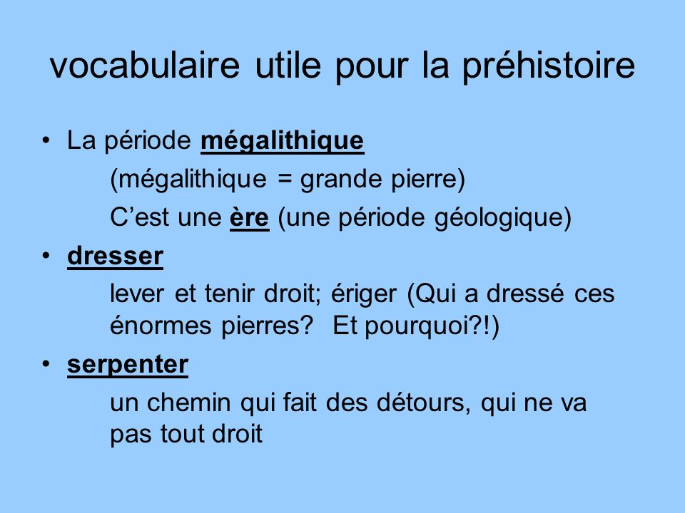 vocabulaire utile pour la préhistoire