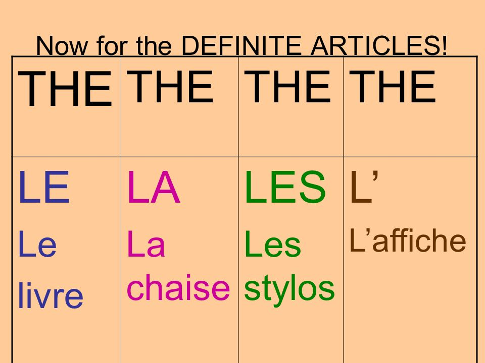 Now for the DEFINITE ARTICLES!