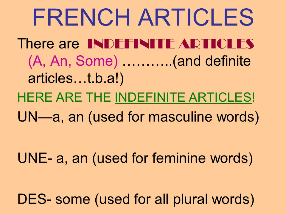 FRENCH ARTICLESThere are INDEFINITE ARTICLES (A, An, Some) ………..(and definite articles…t.b.a!) HERE ARE THE INDEFINITE ARTICLES!