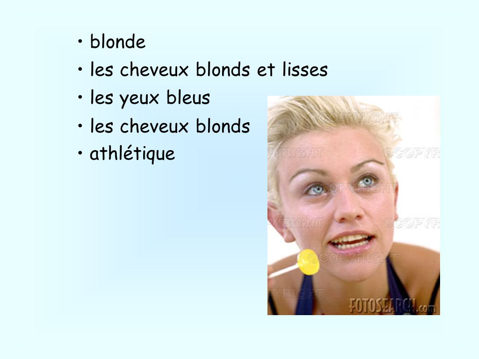 blonde les cheveux blonds et lisses les yeux bleus les cheveux blonds athlétique