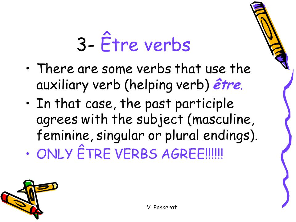 3- Être verbs There are some verbs that use the auxiliary verb (helping verb) être.