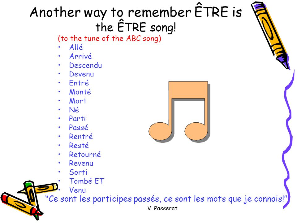 Another way to remember ÊTRE is the ÊTRE song!