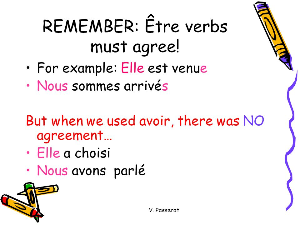 REMEMBER: Être verbs must agree!