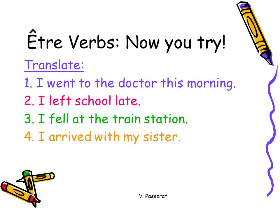 Être Verbs: Now you try! Translate: