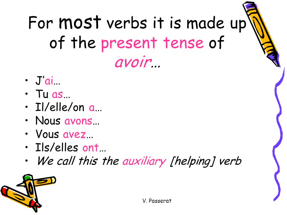 For most verbs it is made up of the present tense of avoir…