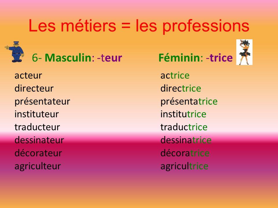 Les métiers = les professions
