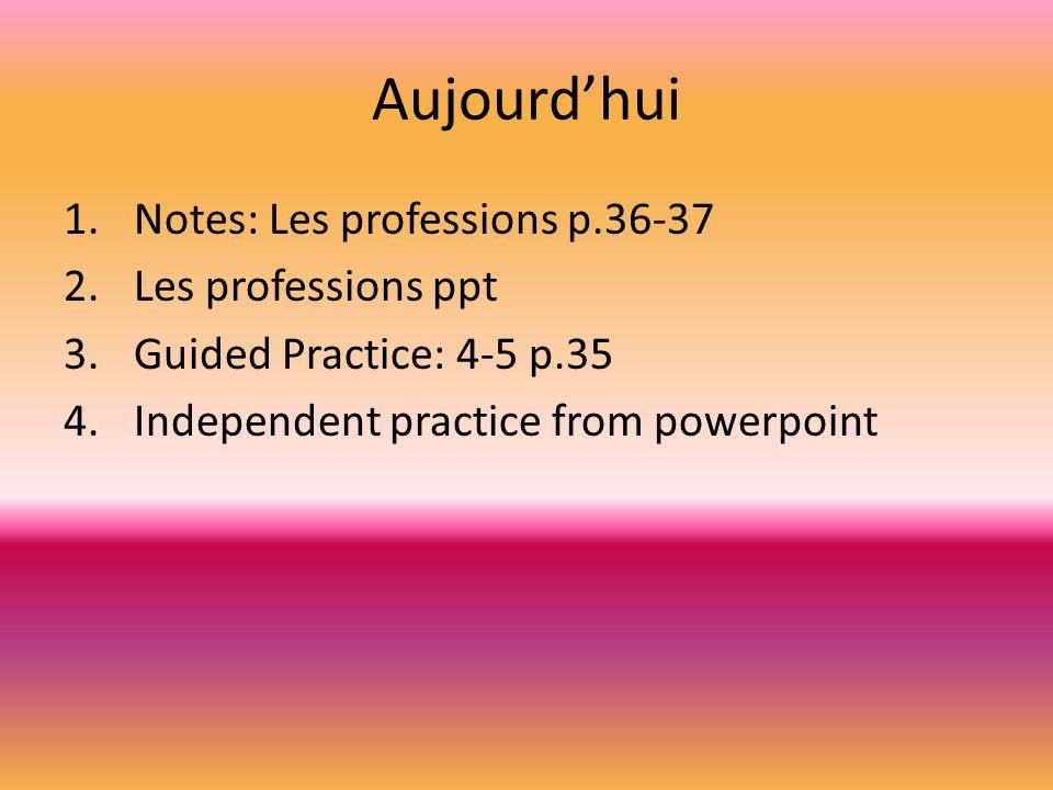 Aujourd'hui Notes: Les professions p.36-37 Les professions ppt