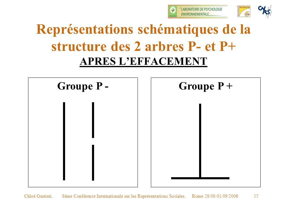 Représentations schématiques de la structure des 2 arbres P- et P+ APRES L'EFFACEMENT