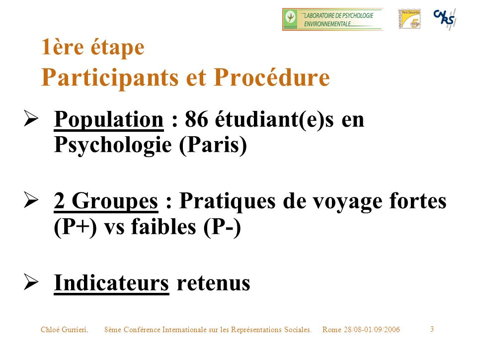 1ère étape Participants et Procédure