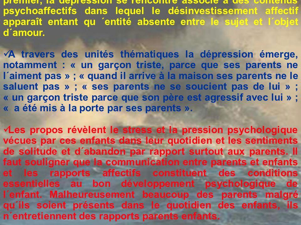 Dans ce deuxième groupe thématique, à exemple du premier, la dépression se rencontre associé à des contenus psychoaffectifs dans lequel le désinvestissement affectif apparaît entant qu ´entité absente entre le sujet et l´objet d´amour.