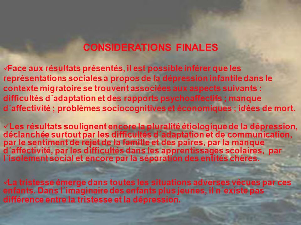 CONSIDERATIONS FINALES