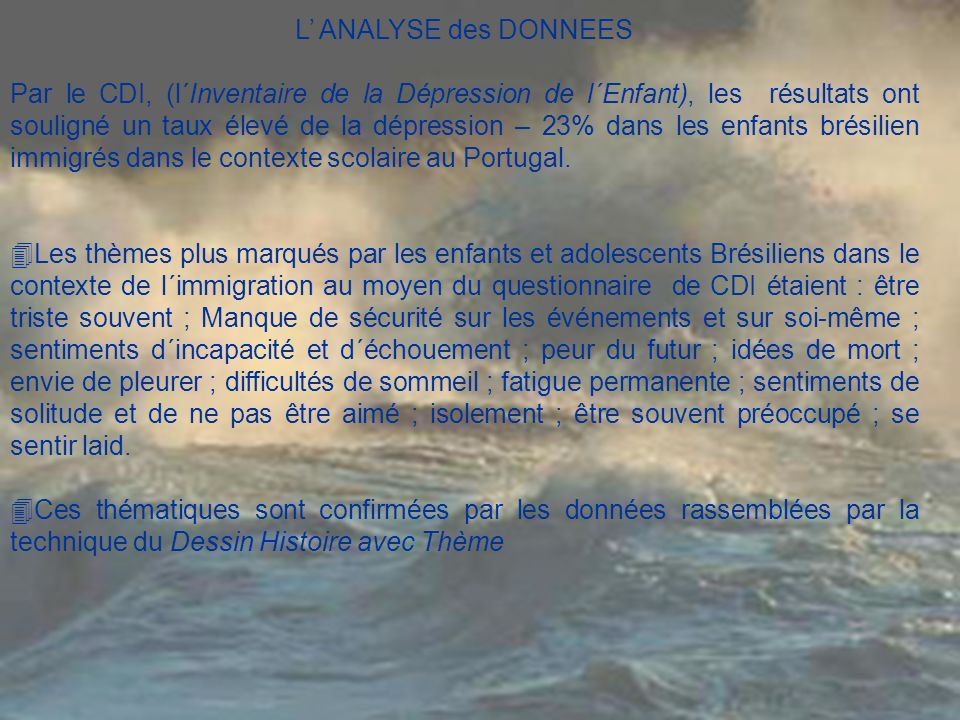 L' ANALYSE des DONNEES