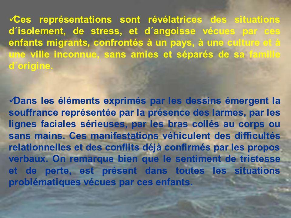 Ces représentations sont révélatrices des situations d´isolement, de stress, et d´angoisse vécues par ces enfants migrants, confrontés à un pays, à une culture et à une ville inconnue, sans amies et séparés de sa famille d´origine.
