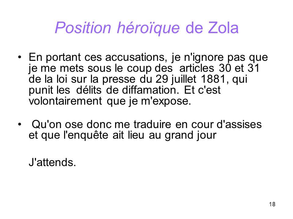 Position héroïque de Zola