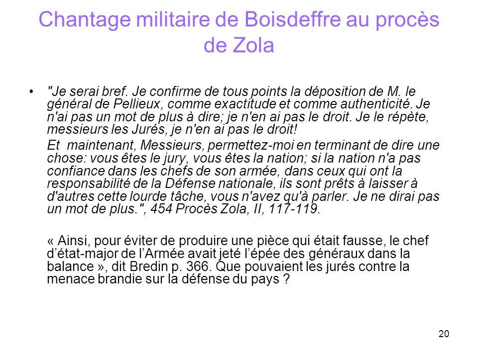 Chantage militaire de Boisdeffre au procès de Zola