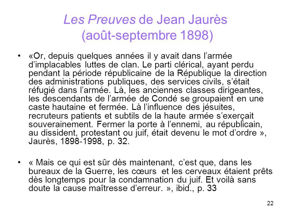 Les Preuves de Jean Jaurès (août-septembre 1898)