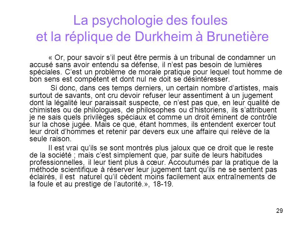 La psychologie des foules et la réplique de Durkheim à Brunetière