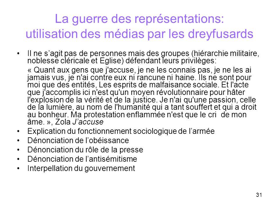 La guerre des représentations: utilisation des médias par les dreyfusards