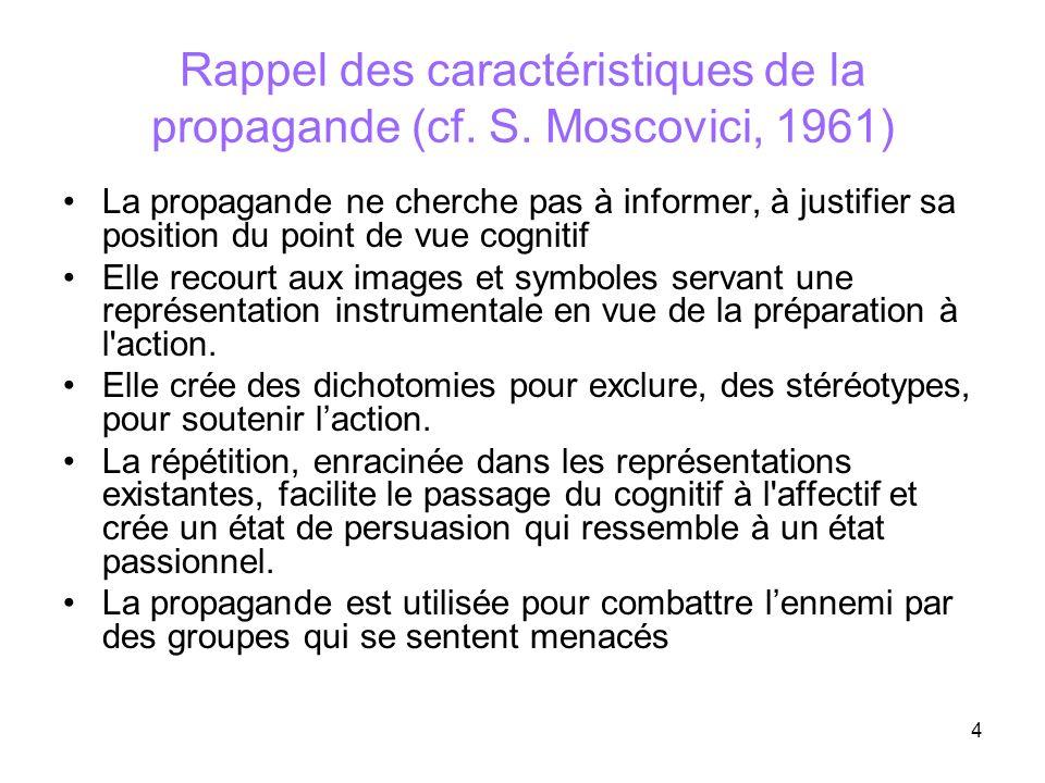 Rappel des caractéristiques de la propagande (cf. S. Moscovici, 1961)