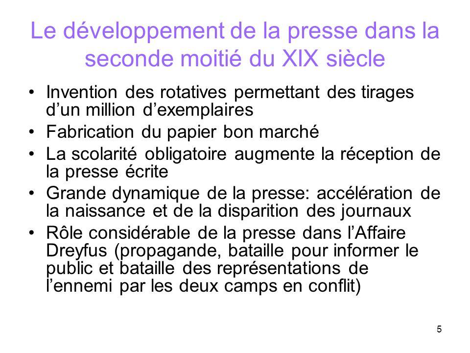 Le développement de la presse dans la seconde moitié du XIX siècle