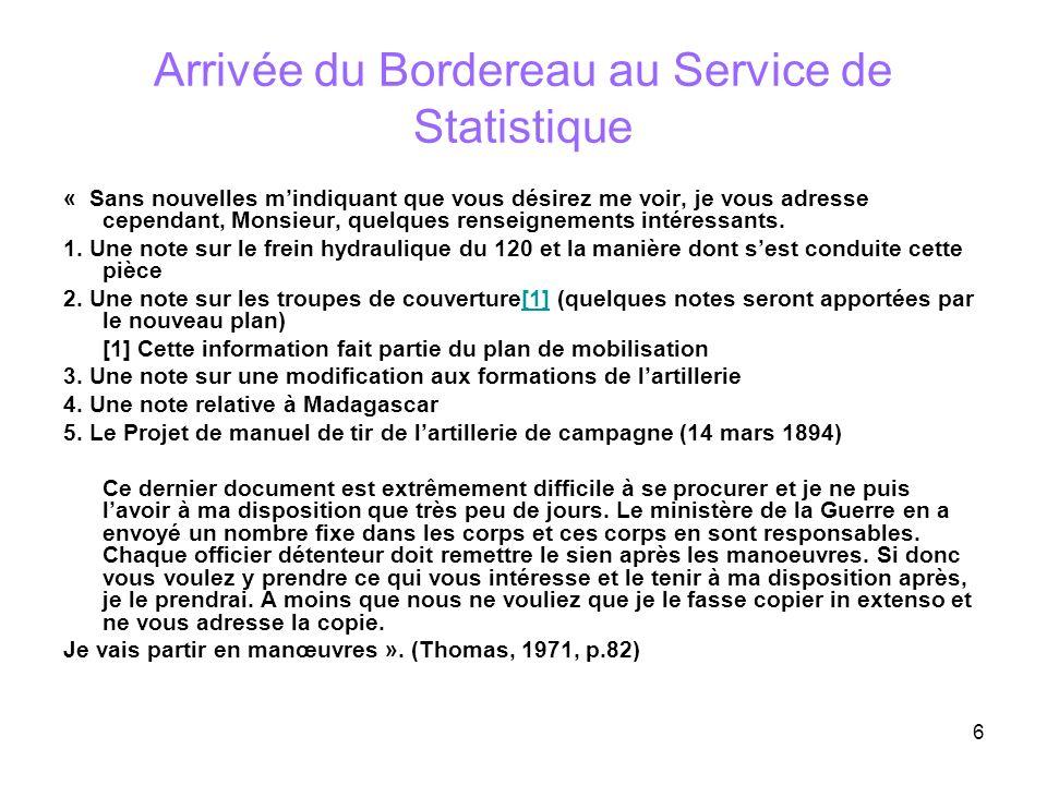 Arrivée du Bordereau au Service de Statistique