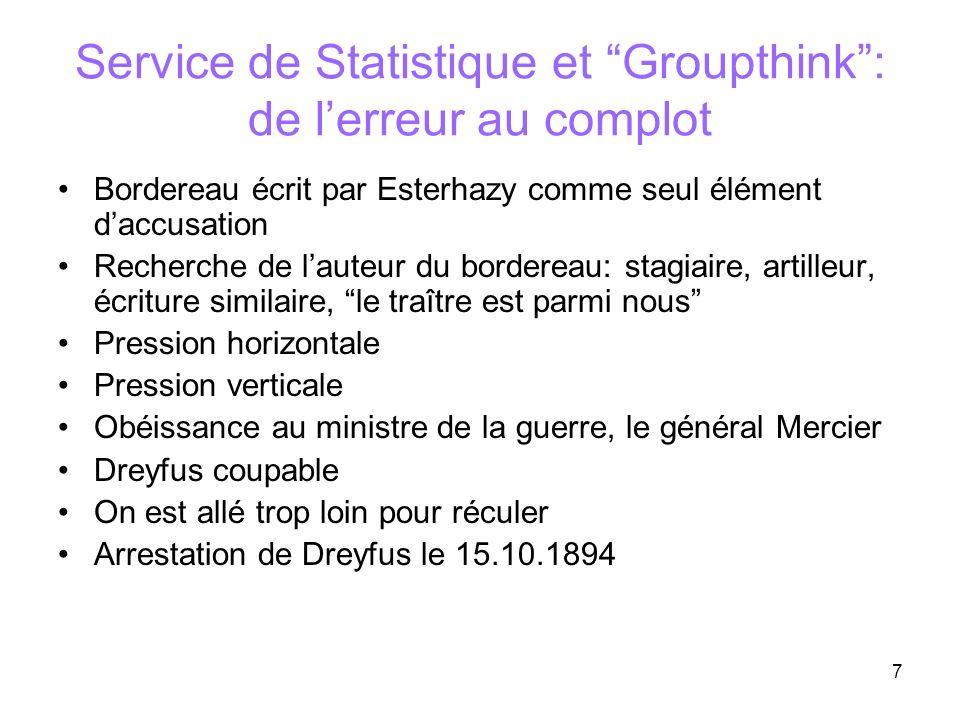 Service de Statistique et Groupthink : de l'erreur au complot