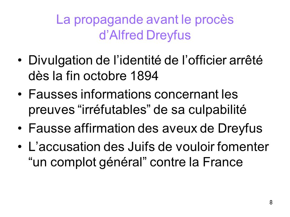 La propagande avant le procès d'Alfred Dreyfus