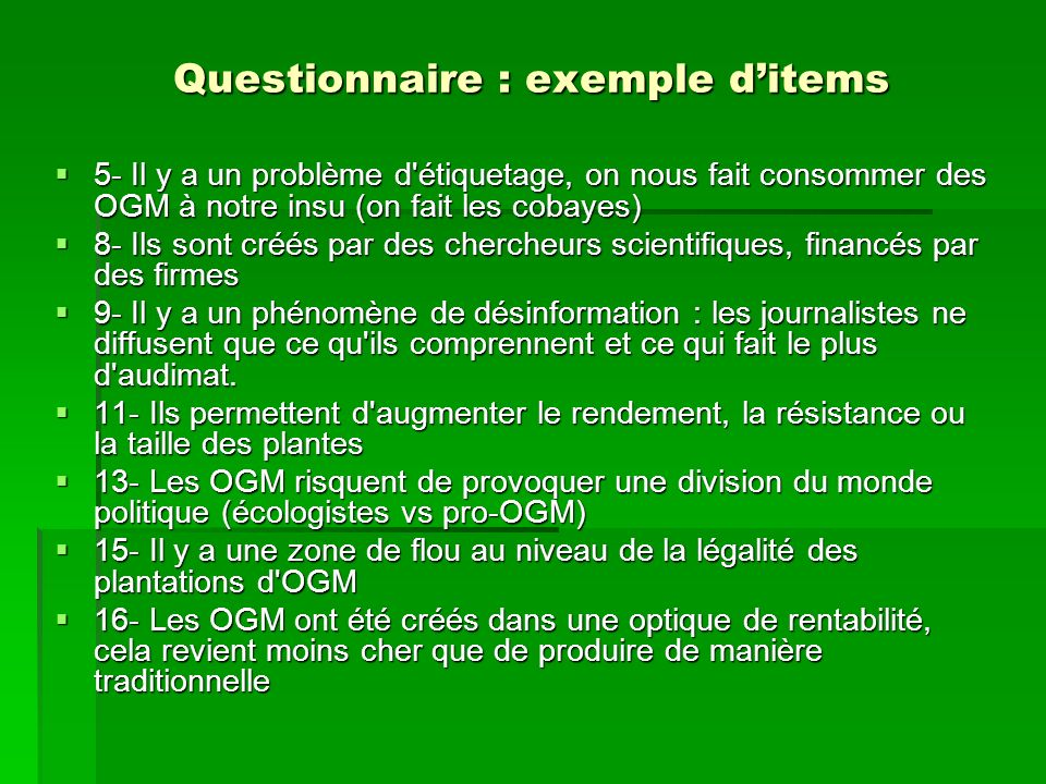 Questionnaire : exemple d'items