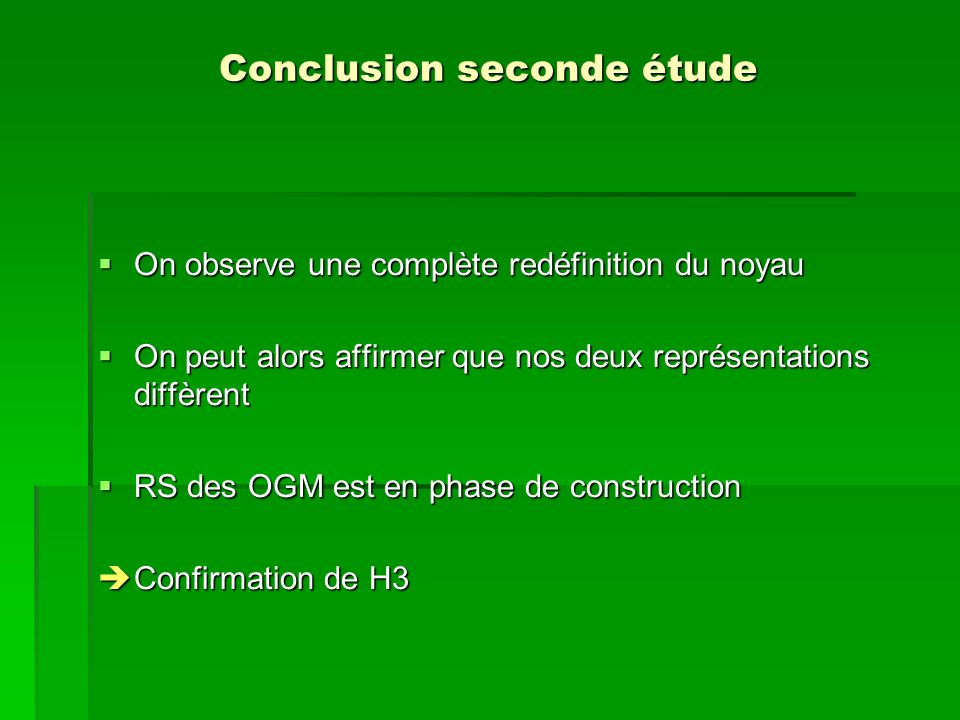Conclusion seconde étude