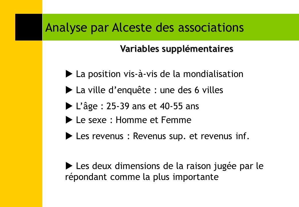 Variables supplémentaires