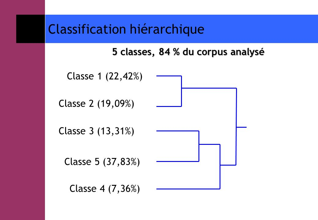 5 classes, 84 % du corpus analysé