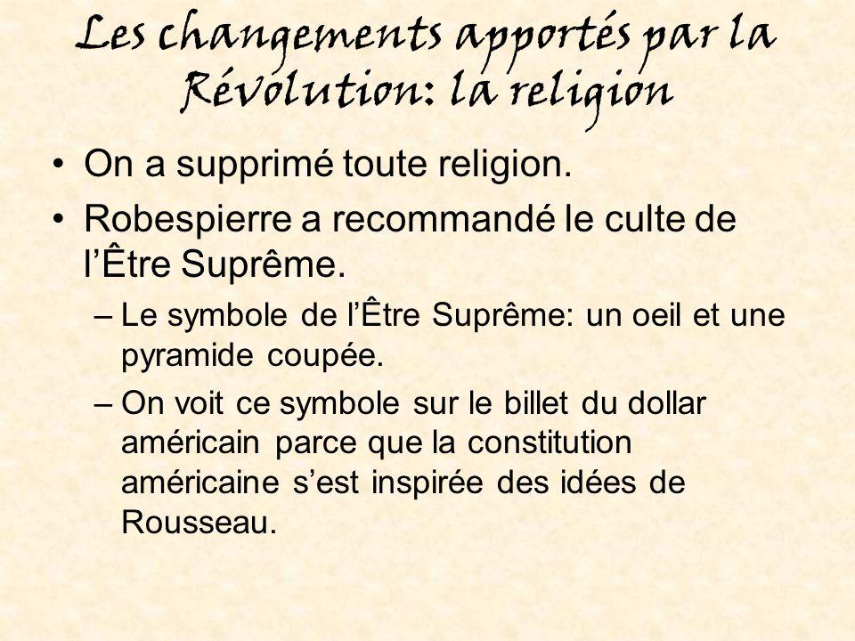 Les changements apportés par la Révolution: la religion
