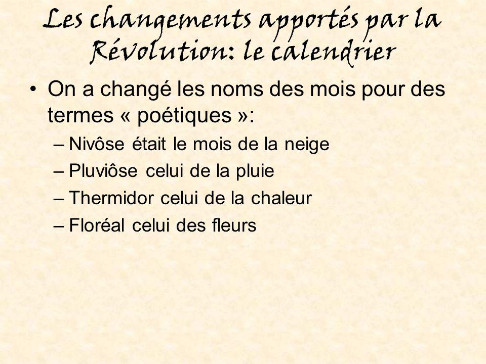 Les changements apportés par la Révolution: le calendrier