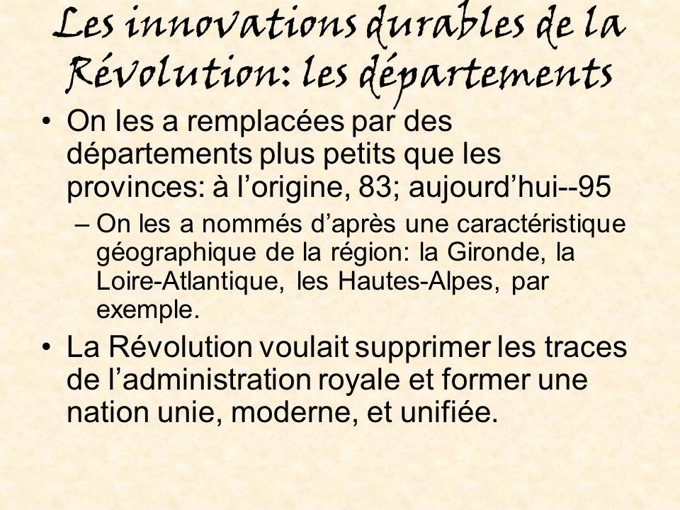 Les innovations durables de la Révolution: les départements