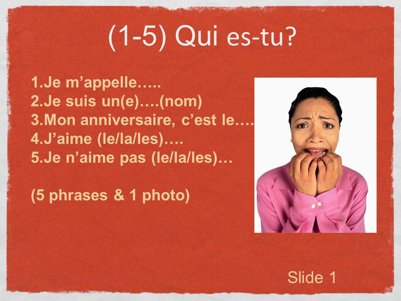 (1-5) Qui es-tu Slide 1 Je m'appelle….. Je suis un(e)….(nom)