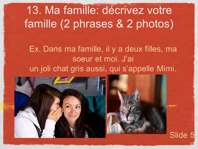 13. Ma famille: décrivez votre famille (2 phrases & 2 photos)