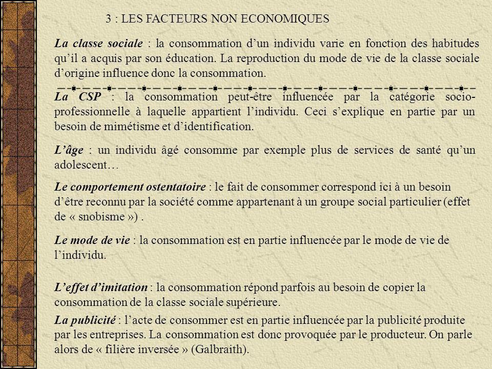3 : LES FACTEURS NON ECONOMIQUES