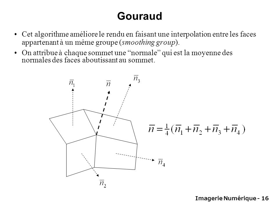 Gouraud Cet algorithme améliore le rendu en faisant une interpolation entre les faces appartenant à un même groupe (smoothing group).