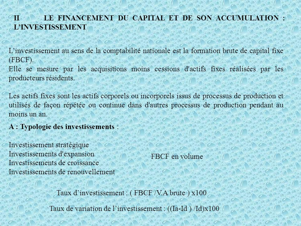 II LE FINANCEMENT DU CAPITAL ET DE SON ACCUMULATION : L'INVESTISSEMENT