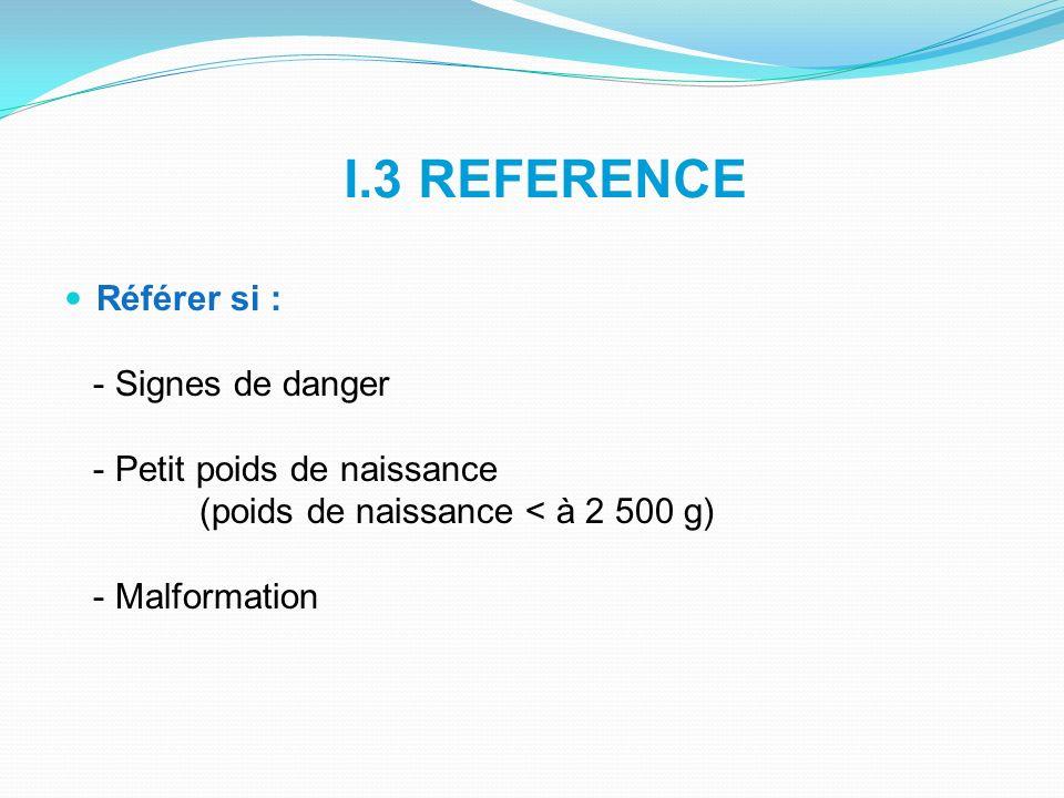 I.3 REFERENCE Référer si : - Signes de danger