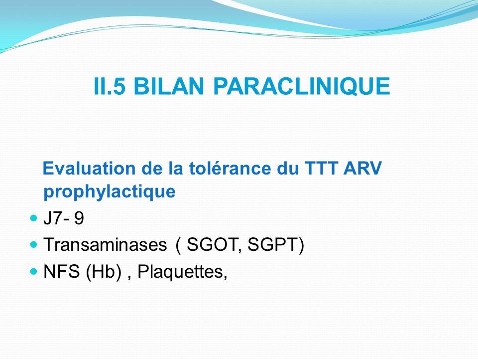 II.5 BILAN PARACLINIQUE Evaluation de la tolérance du TTT ARV prophylactique. J7- 9 Transaminases ( SGOT, SGPT)