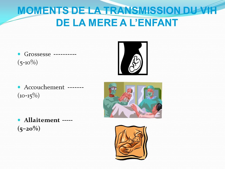 MOMENTS DE LA TRANSMISSION DU VIH DE LA MERE A L'ENFANT
