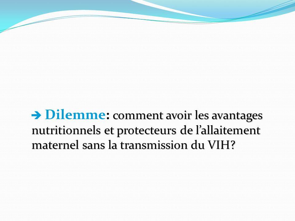  Dilemme: comment avoir les avantages nutritionnels et protecteurs de l'allaitement maternel sans la transmission du VIH