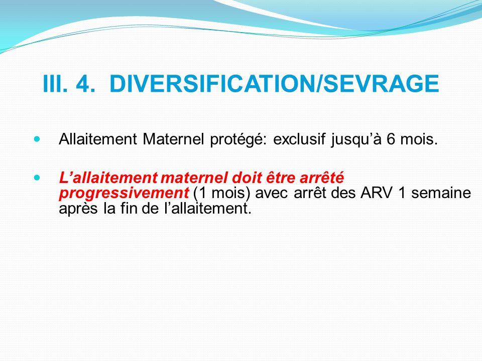 III. 4. DIVERSIFICATION/SEVRAGE